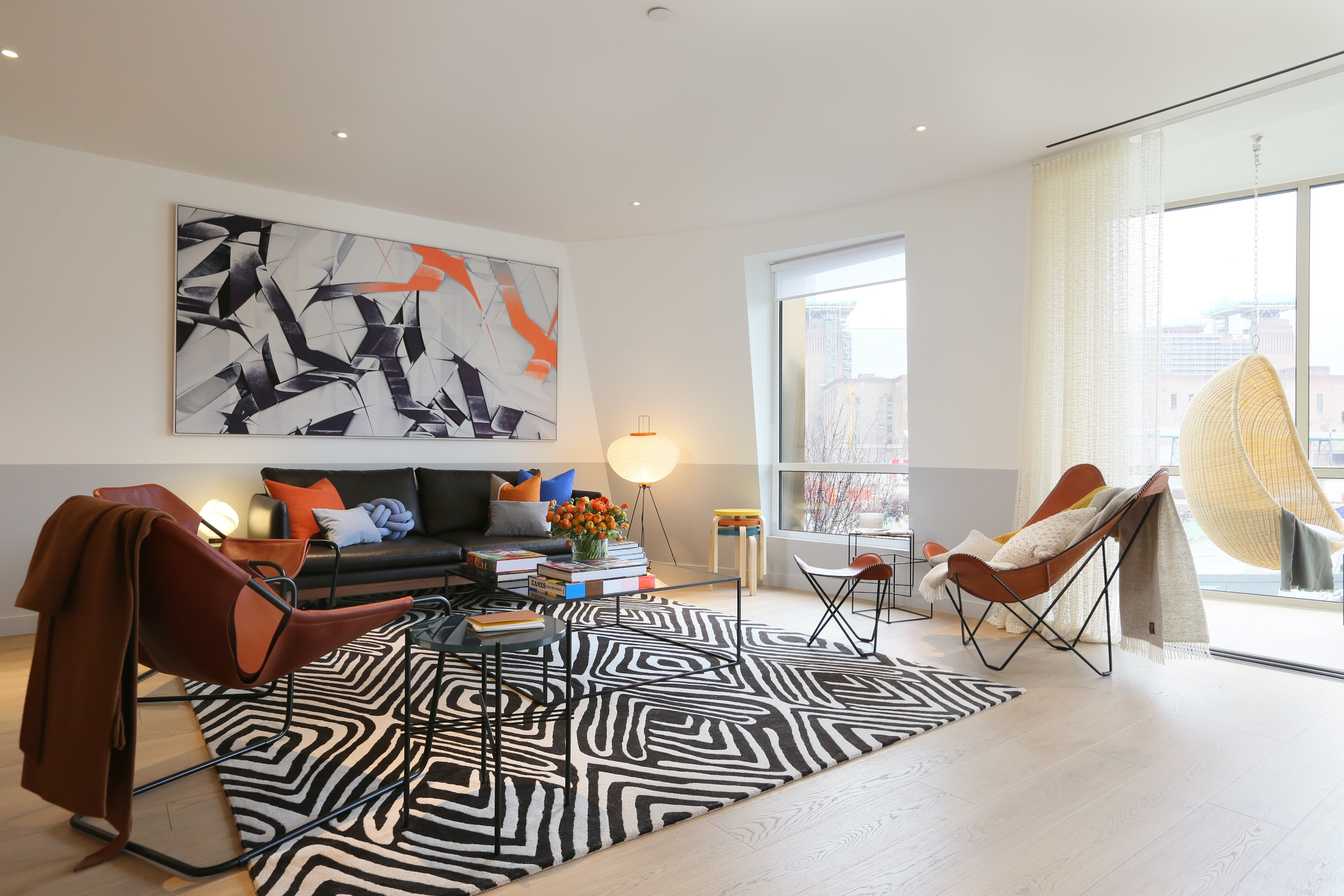 Gehry show apartment living room at Battersea Power Station
